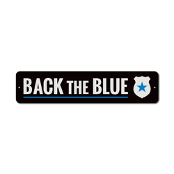 Badge Back The Blue Sign, Police Support Gift, Officer Appreciation & Respect Home Decor