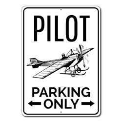 Pilot Parking Only Metal Sign, Airplane Arrows Gift, Aviator Aviation Lover Man Cave Garage Decor