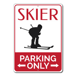 Skier Parking Only Metal Sign, Snow Bunny Arrows Gift, Mountain Ski Lover Man Cave Garage Decor