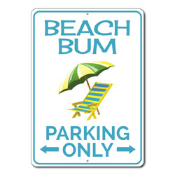 Beach Bum Parking Only Metal Sign, Beach Lover Arrows Gift, Beach Chair Ocean House Garage Decor