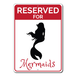 Reserved For Mermaids Parking Only Metal Sign, Beach Lover Arrows Gift, Ocean House Garage Decor