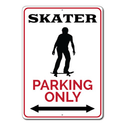 Skater Parking Only Metal Sign, Skateboarder Arrows Gift, Skating Man Cave Home Garage Decor