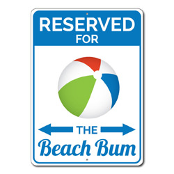 Reserved For The Beach Bum Parking Only Metal Sign, Beach Lover Gift, Beach Ball Home Decor