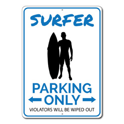 Surfer Parking Only Metal Sign, Arrows Violators Will Be Wiped Out Gift, Beach Lover House Decor
