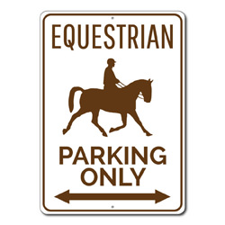 Equestrian Parking Only Metal Sign, Arrow Horse Lover Gift, Horse Owner Trainer Barn Garage Decor
