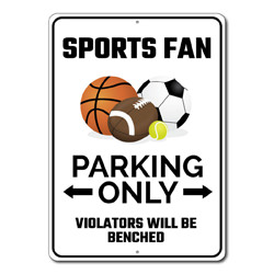 Sports Fan Parking Only Metal Sign, Arrow Violators Will Be Benched Gift, Man Cave Garage Decor