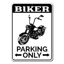 Biker Parking Only Metal Sign, Motorcycle Lover Gift, Bike Rider Man Cave Garage Decor