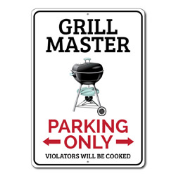 Grill Master Parking Only Metal Sign, Arrows Violators Will Be Cooked Gift, Garage Decor