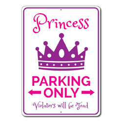 Princess Parking Only Metal Sign, Arrows Violators Will Be Toad Gift, Kid Room Home Decor