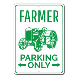 Farmer Parking Only Metal Sign, Arrows Tractor Driver Gift, Farm Owner Home Garage Decor