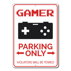Gamer Parking Only Metal Sign, Arrows Violators Will Be Towed Gift, Video Game Controller Decor