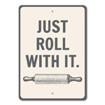 Roll With It Sign, Rolling Pin Decor, Rolling Pin Sign, Kitchen Phrase Sign, Funny Kitchen Saying Sign, Baker Gift