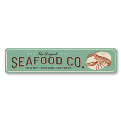 Seafood Co. Fresh Daily, Water Views, Craft Brews, Seafood Restaurant Sign, Beach Bar Sign