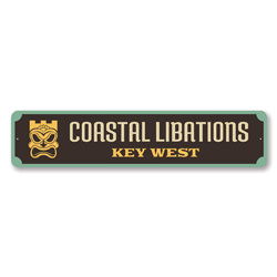 Coastal Libations Key West Sign Tiki Bar Sign, Beach Bar Sign, Beach House Bar Sign, Beach Bum