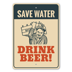 Save Water, Drink Beer Hilarious Pub Sign, Beer Sign, Home Bar Funny Decor, Witty Sign Gift Idea