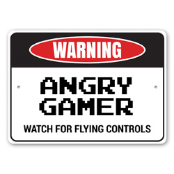 Warning: Angry Gamer, Watch For Flying Controls Gameroom Decor Sign, Man Cave Sign, Gamer Gift Idea