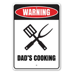 Warning: Dad's Cooking Father's Day Gift Idea, Chef Dad Gift, Home Kitchen Sign