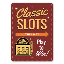Classic Slots This Way Directional Arrow Sign, Slot Machine, Gameroom Sign, Professional Player Gift Idea, Las Vegas Sign, Casino Sign