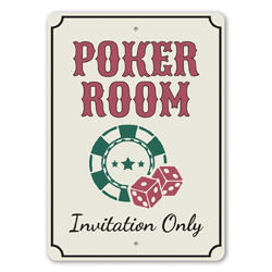 Poker Room - Invitation Only Gameroom Door Sign, Player Gift Idea, Man Cave Playing Cards Sign, Las Vegas Sign