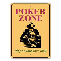 Poker Zone - Play at Your Own Risk Playing cards, Gaming Room, Professional Card Player Gift Idea, Las Vegas Sign, Casino Sign