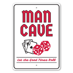Man Cave - Let the Good Times Roll Play Cards and Dice, Gameroom Sign, Man Cave Sign, Las Vegas Sign, Casino Sign