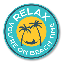 Relax You're On Beach Time, Palm Tree Hammock, Beach Bar Decorative Sign, Round Circular Aluminum Sign