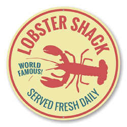 World Famous Lobster Shack! Served Fresh Daily, Seafood Restaurant Sign, Beach Round Circular Aluminum Sign