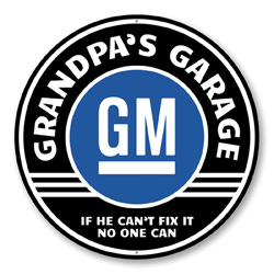 Grandpa's Garage GM Car Sign