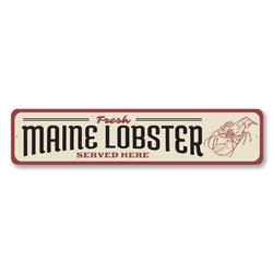Fresh Maine Lobster Served Here Seafood Shack Sign, Beach Restaurant Sign