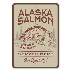 Alaska Salmon Served Here Seafood Restaurant Specialty Sign, Beach Restaurant Sign