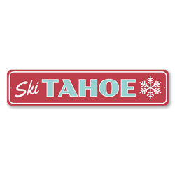 Ski Tahoe Snowflake, Ski Lodge Sign, Lodge Cabin Decor, Lake Tahoe Ski Sign