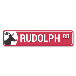 Rudolph Road Reindeer Holiday Sign
