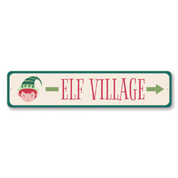 Elf Village This Way Holiday Sign