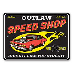 Customs Hot Rods Speed Shop Parts and Service Sign
