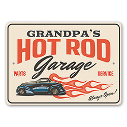 Hot Rod Garage Always Open Parts and Service Sign