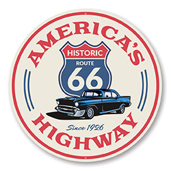 America's Highway Route 66 Novelty Sign