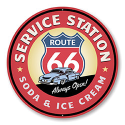 Route 66 Soda and Ice Cream Service Station Sign