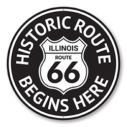 Route 66 Historic Route Begins Here Sign