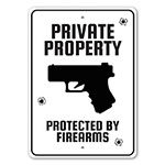Private Property Protected by Firearms Caution Sign