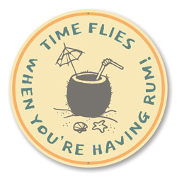 Time Flies When You're Having Rum, Funny Beach Bar Pun Sign, Beach House Sign