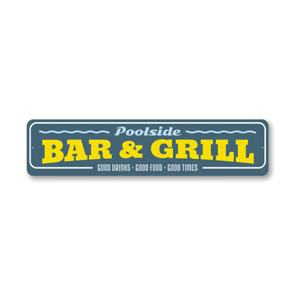 Poolside Bar & Grill, Decorative Backyard Sign, Garden Pool Sign