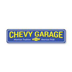 Chevy Garage, Chevy Owner Gift Sign, Garage Metal Decor