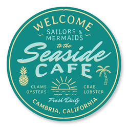 Seaside Cafe Sign, Cafe Decorative Welcome Sign, Beach Aluminum Sign