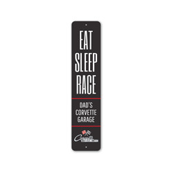 Eat Sleep Race Chevy Corvette Sign, Decorative Garage Sign, Novelty Car Sign