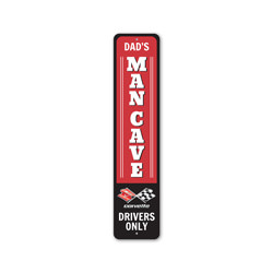 Dad's Mancave Chevy Corvette Drivers Only Sign, Decorative Garage Sign, Novelty Car Sign