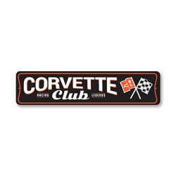 Chevy Corvette Club Racing Legends Sign, Decorative Garage Sign, Novelty Car Sign