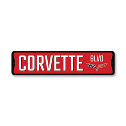 Chevy Corvette Blvd Sign, Decorative Garage Sign, Novelty Car Sign