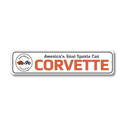 America's First Sports Car Corvette Chevy Sign, Decorative Garage Sign, Novelty Car Sign