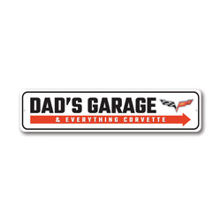Dad's Garage And Everything Corvette Chevy Sign, Decorative Garage Sign, Novelty Car Sign