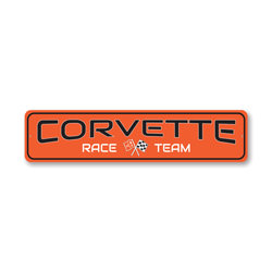 Chevy Corvette Race Team Sign, Decorative Garage Sign, Novelty Car Sign